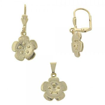 Gold Layered 10.179.0021 Earring and Pendant Adult Set, Flower Design, Diamond Cutting Finish, Gold Tone