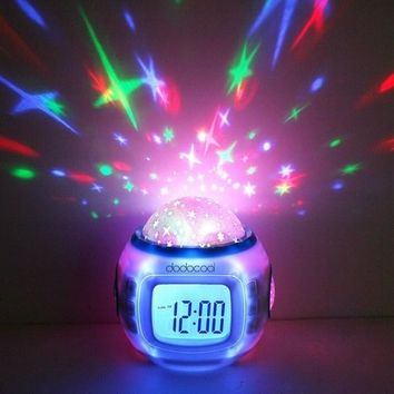 Creative Music Starry Sky Projection Alarm Clock Digital LED Alarm Clock Calendar Thermometer Projection Light Kids Toy