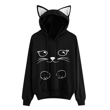 Fashion Cute Cat Print Hoodies Women Cat Ear Cartoon Long Sleeve Sweatshirt Kawaii 2018 Lovely Ladies Pullovers Sudadera Mujer