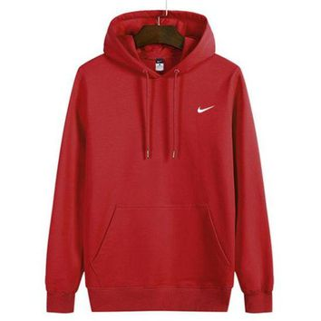 Nike Popular Women Man Fashion Loose Print Sport Casual Long Sleeve Top Sweater Hoodie Red I