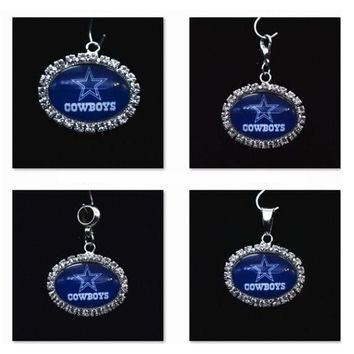 Silver Pendant Charms Rhinestone Dallas Cowboys Charms for Bracelet Necklace for Women Men Football Fans Paty Fashion 2017