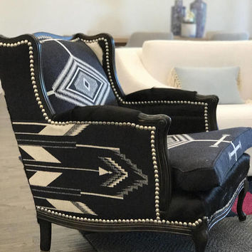 Rustic chair Restored black and white vintage arm chair pendleton and cowhide