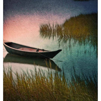 Midnight Paddle - Indigo - Teal - Pink - Dark - Canoe - Wellfleet - Cape Cod - Fine Art Photo - FREE Shipping - Summer