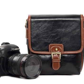 Small Black PU Leather DSLR Camera Bags  Camera Bag 1356