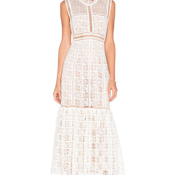 Rebecca Taylor Sleeveless Crochet Lace Dress in Off White