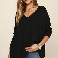 Ticket to Cozy Black Oversized Sweater