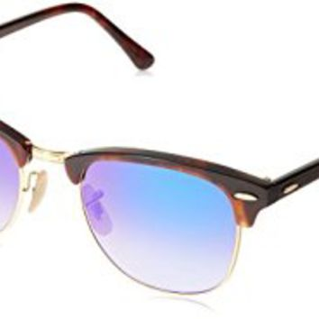 Ray-Ban Clubmaster Square Sunglasses, Shiny Red/Havana, 51 mm