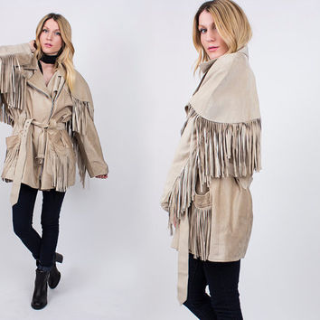 vintage 80s tan suede fringe jacket leather blazer oversized cape coat