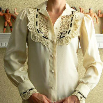Cream Long Sleeve Victorian Style Blouse