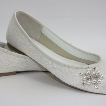 Wedding Shoes - Lace - Flats - Lace Wedding Shoes - Wedding Flats - Peep Toe Lace Flat - Choose From Over 100 Colors - Custom Color Parisxox