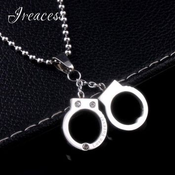 2018 New Punk Stainless Steel Handcuff Necklace Pendants Charms Collar Choker Zircon Necklace For Women Silver Jewelry Gifts