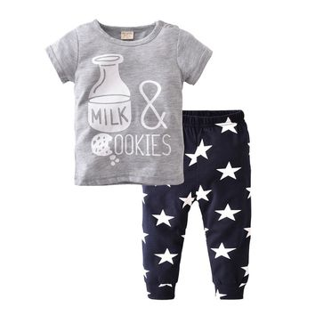 New 2018 Summer Baby Boy Clothes Cotton Bottle Printing T-shirt+Pants Infant Clothes Baby Girl Clothing Set Newborn 2 Pcs Suits