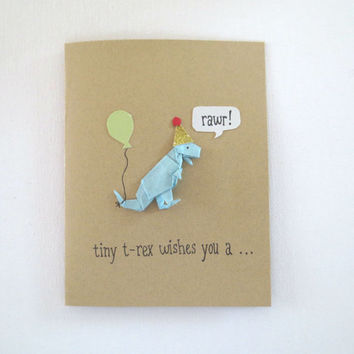 Dinosaur Birthday Card Origami T R