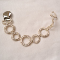 Baby Christmas gift. Pacifier clip. Color- Pale gold, with sparkles entwined.  (fits mam, soothie, nuk) Made by lippybrand