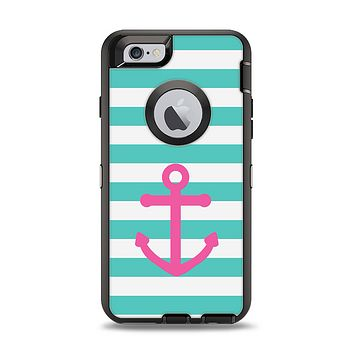 The Teal Striped Pink Anchor Apple iPhone 6 Otterbox Defender Case Skin Set