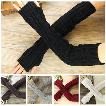 Women long Arm Warmer Fingerless Knitted Long Gloves Cute Soft Warm Mittens