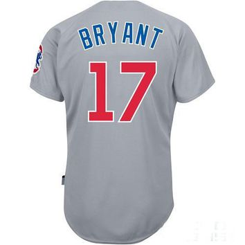 Cheap Baseball Jerseys Chicago Cubs #17 Kris Bryant Road Grey Jersey Authentic Baseball Cool base Jerseys