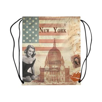 New York Marilyn Monroe Drawstring Bag