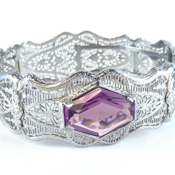 Antique Silver Filigree Bracelet Vintage Wide Art Deco Purple Amethyst Glass Geometric Crystal Bangle 1930s Estate Wedding Jewelry