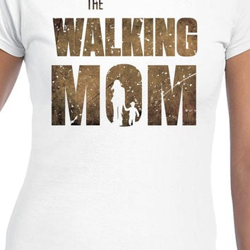 The Walking Mom T-Shirt The Walking Dead Inspired Funny Parody Womens Dark Logo T-Shirt