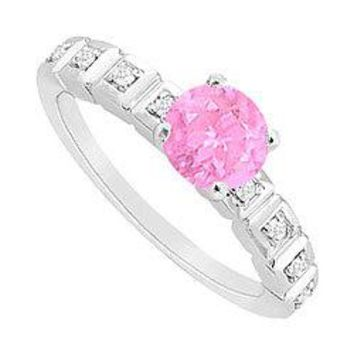 Pink Sapphire and Diamond Engagement Ring : 14K White Gold - 0.60 CT TGW