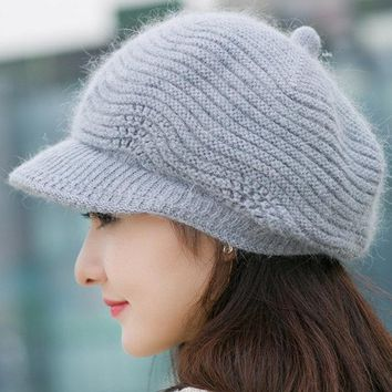 Wool Warm Newsboy Hat For Women Octagonal Cap Girl Knitted Beret Caps Women Casual Vintage Flat Hats