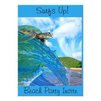"""Surf's Up"" Beach Party Invitation"