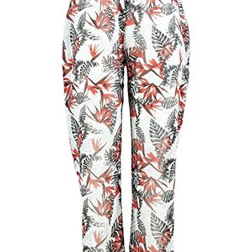 Boohoo Womens Plus Size Georgie Tropical Print Beach Trouser