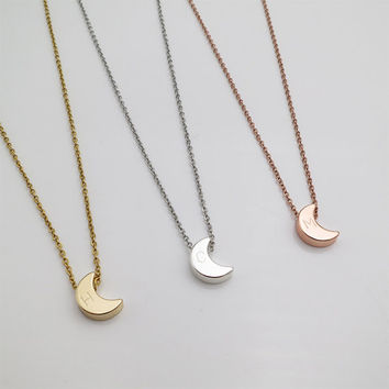 Personalized gifts Crescent Moon necklace initial necklace bridesmaid gifts christmas gifts hand stamped Letter Necklace anniversary gifts