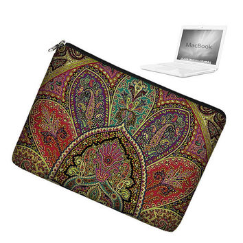 13 inch Laptop Sleeve Macbook Pro 13 Case Zipper  - Paisley purple teal red