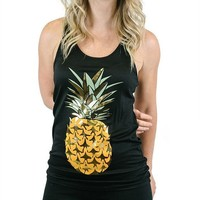 Gold Pineapple Racerback Tank Top