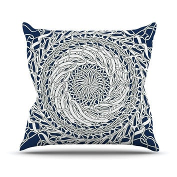 "Patternmuse ""Mandala Spin Navy"" Blue White Outdoor Throw Pillow"