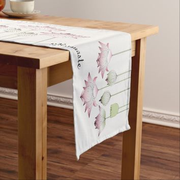 Elegant Chic Pink Lotus Floral Personalized Short Table Runner