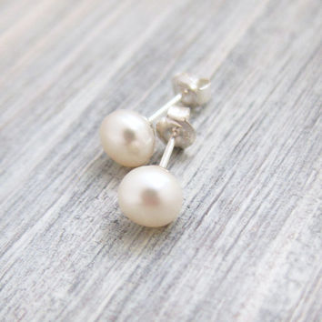 Classic Pearl Stud Earrings - Sterling Silver Posts, Dainty Pearl Studs, Simple Jewelry, Everyday Earrings, Gift For Her, Bridesmaid Gift