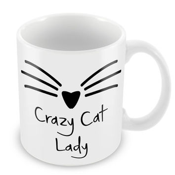 Crazy Cat Lady Mug Cat Mug Feline Meow Coffee Mug Whiskers Mug Funny Mug