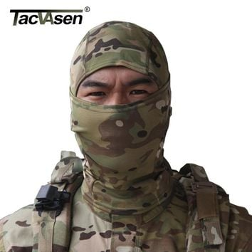 TACVASEN Tactical Quick Dry Hood  Mask Hunt Full Face Mask Paintball War Game Helmet Camouflage Military Face Mask TD-SZLM-004