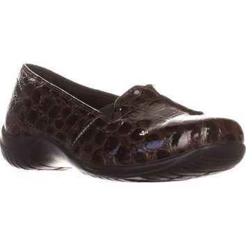 Easy Street Purpose Slip-On Flats, Brown Patent Croc, 10 W US