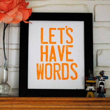 Linocut Print Let's Have Words 8 x 10 inch Poster by CursiveArts