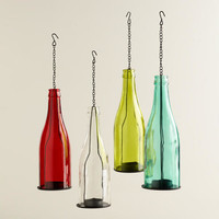 Glass Bottle Tealight Lanterns, Set of 4