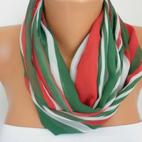 Line - Infinity Scarf Shawl Circle Scarf Loop Scarf  Scarf Gift  - anils red green white