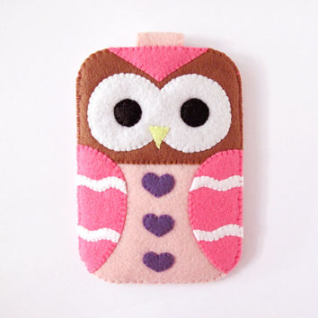 Pink Owl Fantasy Hearts iPhone Case. Camera Cell Phone Gadget Cute Kawaii Holder. with closure. Gift for her.