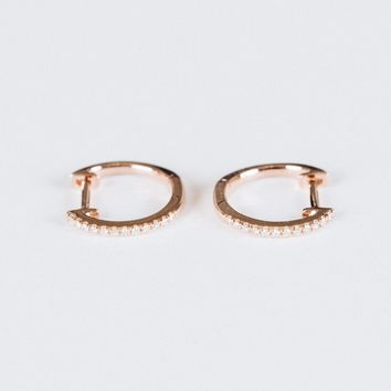 Pave Huggies with White Diamonds Rose Gold