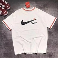 Nike X AJ X Off White New Trending Women Men Stylish Embroidery Print Short Sleeve Round Collar T-Shirt Top White I13443-1