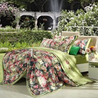 100% Cotton linen floral jacquard luxury bedding set queen king size european bohemia bed set green duvet cover bed sheet set