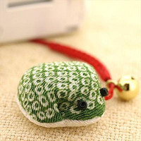 Japanese Cloth Chirimen Sacred Adorable Frog Cell Phone Strap Green