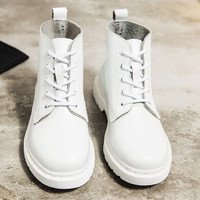 On Sale Hot Deal Leather Dr. Martens White England Style With Heel Flat Couple Boots [9553601866]