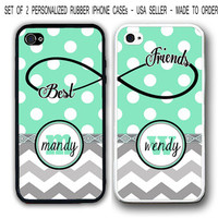 PERSONALIZED MINT POLKA DOTS BLACK DAMASK BFF Best Friends 2 iPhone 4 4S 5 CaseS