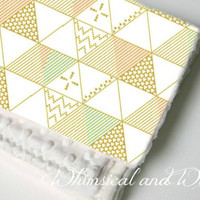 Gold Triangle Baby Blanket - Gold Triangles, Mint, and Pink
