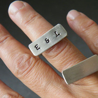 Hand Stamped Ring Personilized Ring Sterling Silver Jewelry Rectangular Ring Modern Ring by SteamyLa