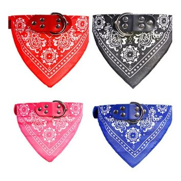 Adjustable Cat Dog Collar Scarf Lovely Printed Pet Supplies Scarf Dogs Cat Personality Bandana Pet Neck Tie Collar A10